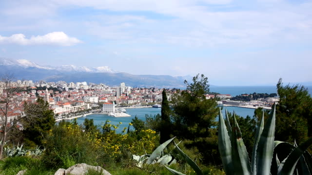 View of harbour, boats and mountains, Split video