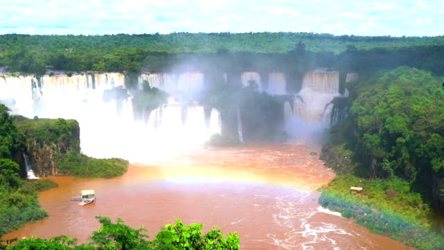 View of Iguazu waterfalls with a rainbow video