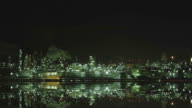 View of Industrial district at night from highway video