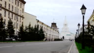 View of Kazan Cremlin in the end of a street video