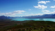 View of Lake and snowcapped mountains video