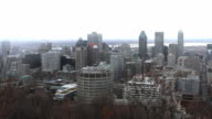 View of Montreal skyline, snow storm approaching video