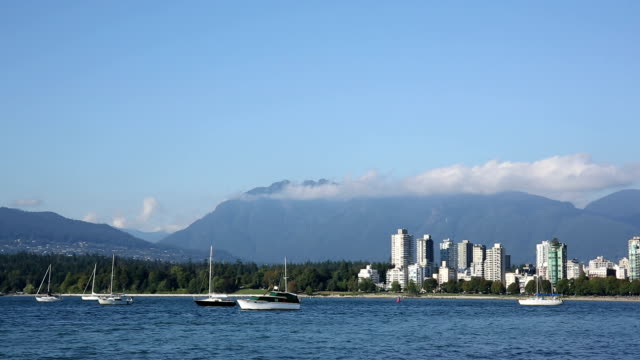 View of mountains and city skyline, Vancouver video