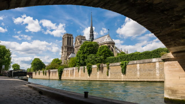 View of Notre Dame Cathedral from under Pont de l'Archeveche video
