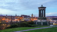 View of old town Edinburgh at twilight video