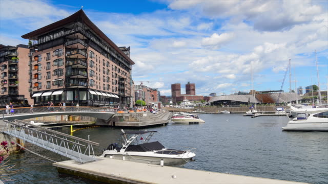 View of Oslo City Hall with harbour / Oslo, Norway video