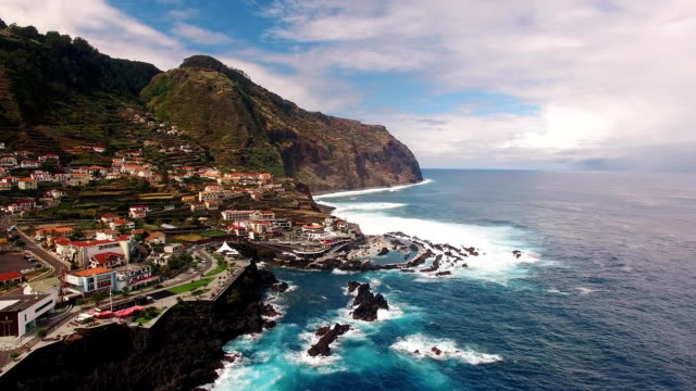 View of Porto Moniz Madeira aerial view video