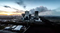 AERIAL view of Power Plant at Sunset video