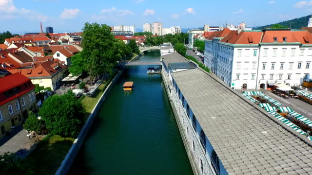 View of river Ljubljanica in Slovenia video