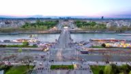 View of river Seine, Trocadero and La Defense from the Eiffel tower. Day to night timelapse. Paris, France, Europe video