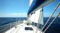View of sailboat from deck on Adriatic sea video
