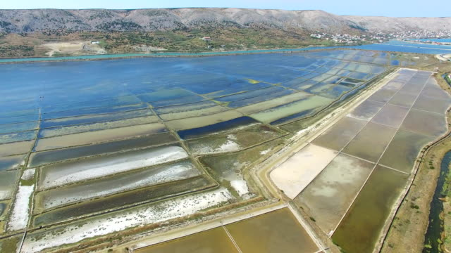 360 view of salt pans surrounded by sea and mountains of Pag island, Croatia video