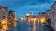 View of Santa Maria della Salute in Venice, Italy at night video