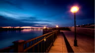 View of seafront in night city. Illumination. video