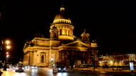View of St. Isaac's Cathedral at night, Saint-Petersburg video