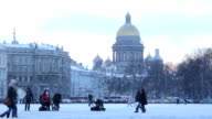 View of St. Isaac's Cathedral in the snow in the winter video