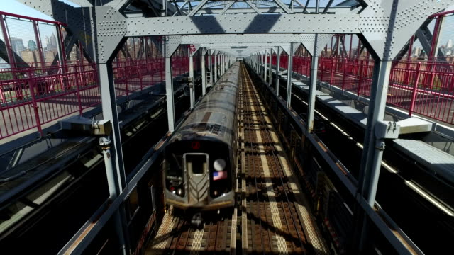 View of Subway Train Traveling on Williamsburg Bridge video