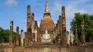 WS TD View of Sukhothai Historical Park, Sa Sri temple, Thailand video