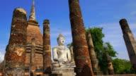 TD LA WS View of Sukhothai Historical Park, Sa Sri temple, Thailand video