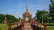 WS LD View of Sukhothai Historical Park, Sa Sri temple, Thailand video