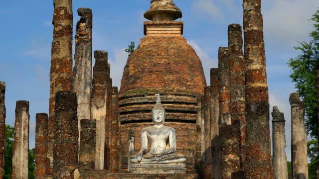 ZO, WS View of Sukhothai Historical Park, Sa Sri temple, Thailand video
