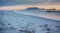 View of Table Mountain at sunset. video