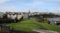 View of Tenby Pembrokeshire Wales UK PAN video