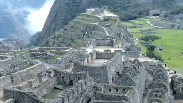 View of the ancient Inca City of Machu Picchu. The 15-th century Inca site.'Lost city of the Incas'. Ruins of the Machu Picchu sanctuary. UNESCO World Heritage site video