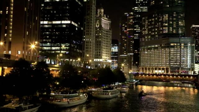 View of the Chicago Riverwalk after dark video