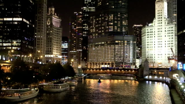 View of the Chicago Riverwalk at night video