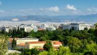 View of the city of Athens, time lapse video