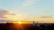 view of the city of Vilnius, Lithuania, time-lapse sunset video