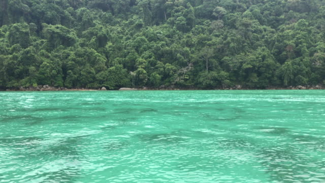 View of the coastline from the ocean, Surin Island, Thailand video