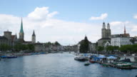 View of the Limat river in Zurich, Switzerland video