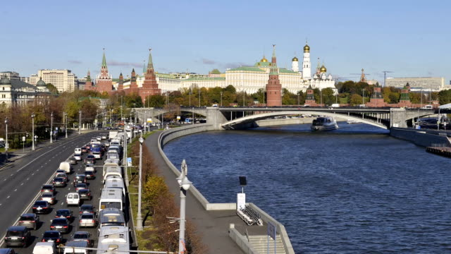 view of the Moscow Kremlin and Moscow river time-lapse photography video