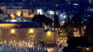 view of the old city andal-aqsa mosque night timelapse from the Mount of Olives., Jerusalem, Holy Land video