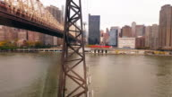 View of The Queensboro Bridge and Manhattan New York City 4k video