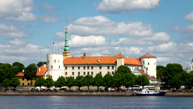 view of the Riga Castle - the residence of President of Latvia Old Town, Riga, Latvia time-lapse video