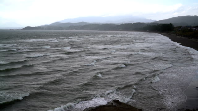 view of the stormy sea video