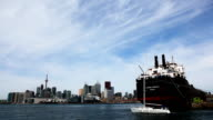 View of the Toronto harbour with freighter, Canada video