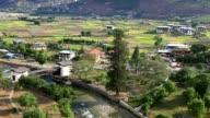 view of the village from rinpung dzong, paro, bhutan video