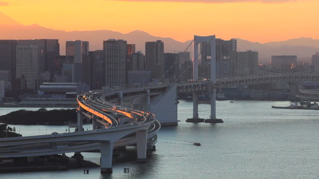 View of Tokyo downtown at night with Rainbow Bridge video