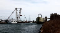 View of Toronto harbour and freighter loading, Canada video