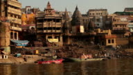 View of Varanasi city from a boat at the Ganges video