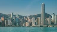 view of victoria harbor in Hong Kong,China. video