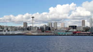 View of Waterfront Seattle from the Ferry video