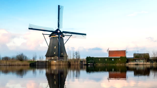 View of Windmill and reflection in Kinderdijk Village video