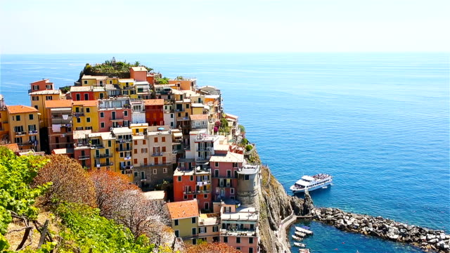 View on architecture of Manarola village. Beautiful city is one of the most popular old village in Cinque Terre. video