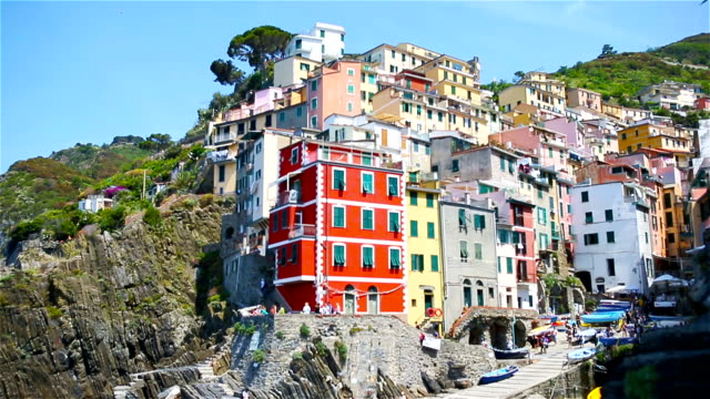 View on architecture of Riomaggiore town. Riomaggiore is one of the most popular old village in Cinque Terre, Italy. video