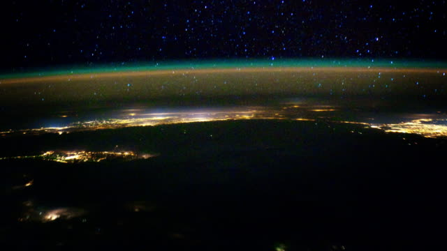 View on Earth and Aurora from space 4K video
